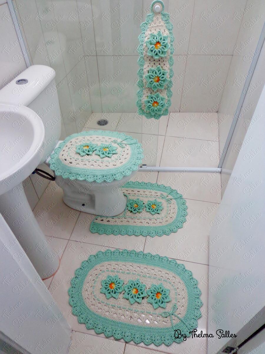 Jogo de banheiro em crochê oval  Thelma Salles Artesanatos  El -> Jogo De Banheiro Simples Croche