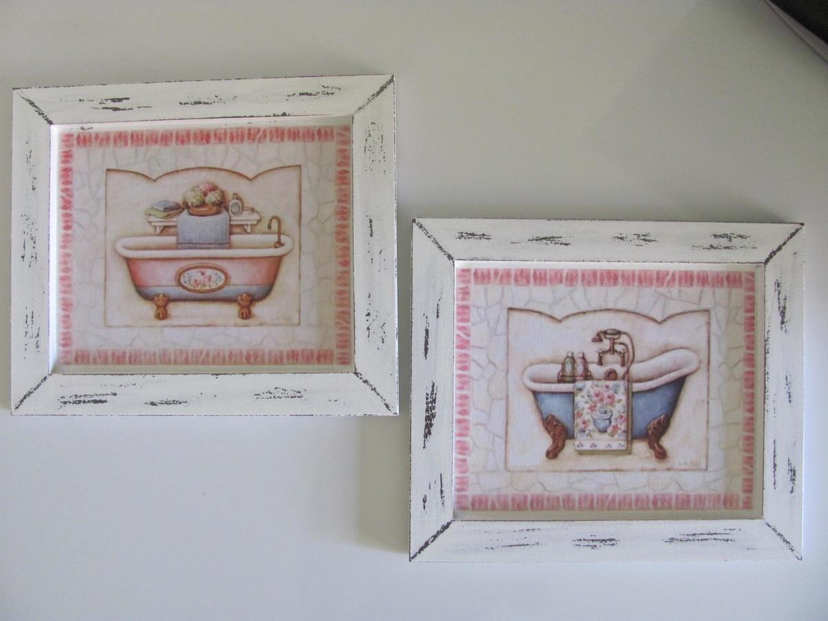 para banheiro quadro retangular dupla de quadros vintage para banheiro  #7E5C4D 1200 900
