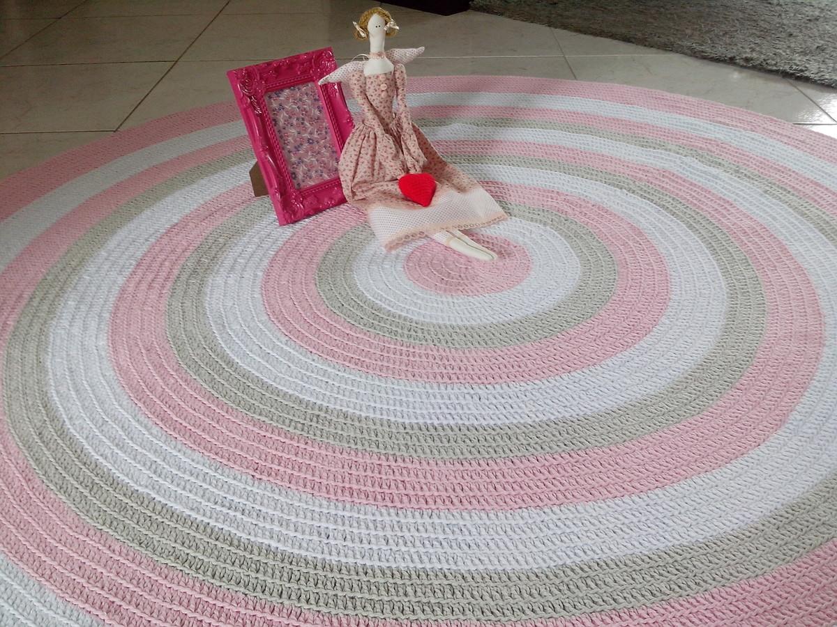 Tapete crochê baby meninas rosa 1,60m Atelier Val  ~ Tapete Para Quarto Infantil Rosa