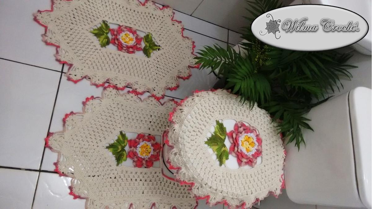 Jogo de Banheiro com Flores e Folhas  Wilma CrochêCom  Elo7 -> Jogo Para Pia De Banheiro