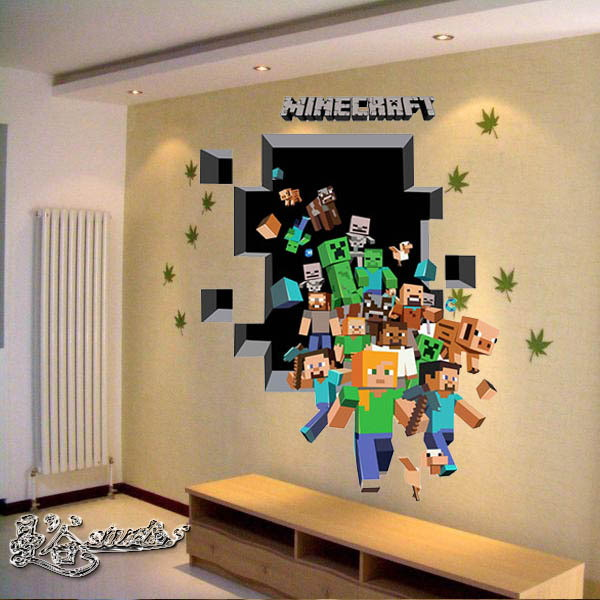 Adesivo minecraft 3d grande adesivos e decora es aum elo7 for 3d room decoration game