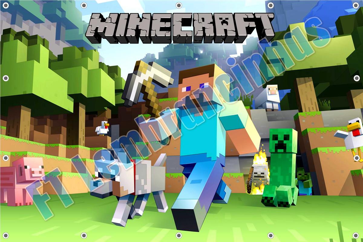 Painel minecraft banner minecraft cubo art design elo7 for Minecraft 3d blueprint maker