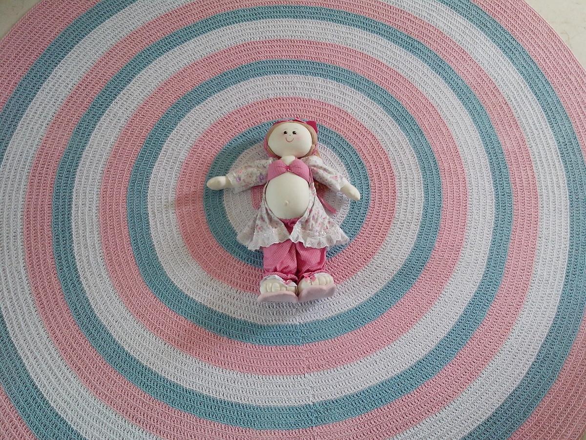 Tapete crochê baby meninas rosa 1,80m Atelier Val  ~ Tapete Para Quarto Infantil Rosa
