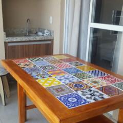 Mesa com azulejos e banco presente para a minha casa for Nova casa azulejos