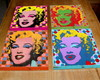 Kit 4 Quadros Tela MDF Marilyn Pop
