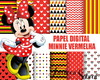 Papel digital Minnie vermelha + BRINDE