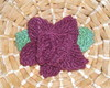 Flor broche tricot bordô