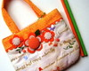 Mini-bolsinha Orange and Letters