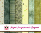papel digital verde vintage 17-4