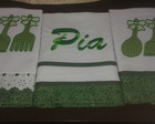 Kit com 3 panos de prato bordados