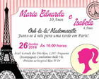 Convite Barbie Paris C/Envelope (Mod1)