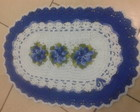 tapete oval azul flores