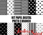 Kit papel digital preto e branco