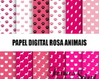 Papel digital rosa animais