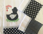 Kit 3 Pano Prato Patchwork Galinha white