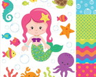 Kit Scrapbook Digital Sereia