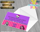 Convite Monster High + Envelope + Adesiv