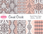 Kit Papel Digital - Coral Chick