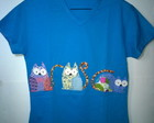 Camiseta bordada gatos patchwork