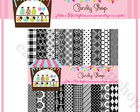 Kit Papel Digital Scrapbook Preto Branco