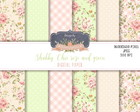 Kit Papel Dig. Shabby Chic Verde e Rose