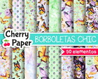 Papel Digital - Borboletas Chic