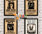 4 Posters HARRY POTTER com Moldura