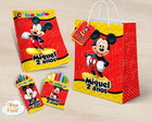 Kit colorir giz massinha e sacola Mickey