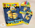 Kit colorir giz massinha Minions