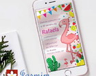 Convite Digital WhatsApp - Tema Flamingo
