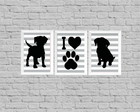 Kit quadro decor I love dog
