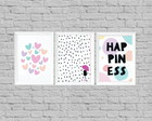kit quadro decor happiness