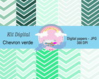 KIt Digital papeis chevron verde
