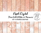 Kit Papel Digital Rose Gold Glitter e Mármore