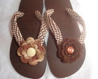 HAVAIANAS BORDADA C/ FLOR CROCHÊ + EMBAL