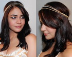 Headband pérola OFF WHITE&strass dourado