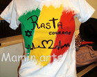 T shirt Baby Look reggae Rasta Courage