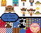 Kit de scrap digital cowboy e cowgirl