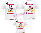 Kit 3 Camisetas Mickey e Minnie.