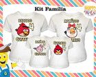 kit 4 camisetas Angry Bird