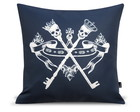 ALMOFADA FASHION SKULL KEY DARK BLUE