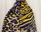 Echarpe Animal Print Colirida Amarelo