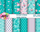KIT FUNDO DIGITAL TIFFANY E ROSA