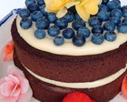 Naked Cake - Blueberry e Flores