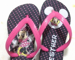 Chinelo da Minnie Preto e Rosa
