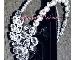 Tiara Lateral Strass Perola Noiva tgr08r