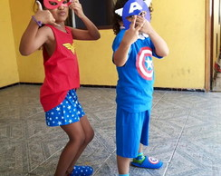 CONJUNTO PERSONAGEM SUPER HEROIS MASCARA