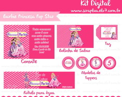 Kit Digital Barbie Princesa & Pop Star