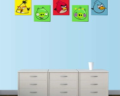 Kit 5 Quadros Decorativos - Angry Birds