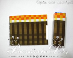 60 ADESIVOS chocolate TOCHA MINECRAFT